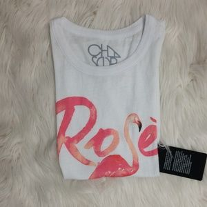 Chaser Rose Flamingo Graphic Tie Tank Top